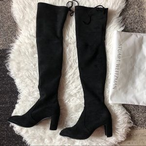 Stuart Weitzman OTK black suede boots